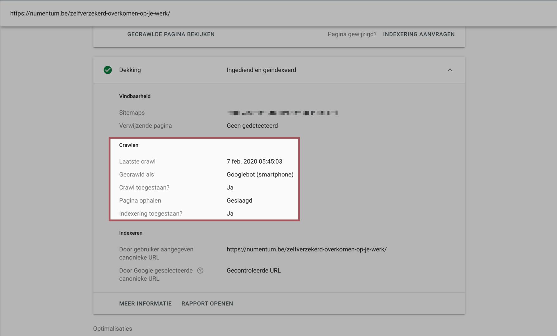 Overzicht van alle details die gemoeid zijn bij de indexering van een pagina in de Google Search Console